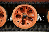 Rollers and tracks of the tank — Stockfoto