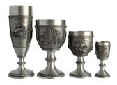 Pewter wine goblets — Stock Photo