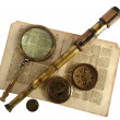 Vintage telescope, magnifying glass, compass and paper — 图库照片