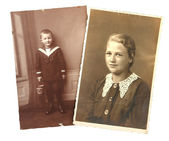 Old photos: sister and brother — Stock Photo