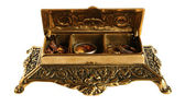 Old bronze casket with jewelry — Stock Photo