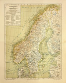 Old map of Sweden and Norway — Stock Photo