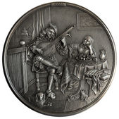 Bas-relief The Lute Player — Stock Photo