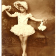 Antique photo of a young ballerina — Stock Photo