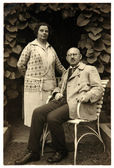 Vintage photo of senior couple — Stockfoto