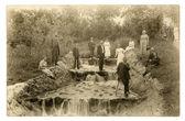 Foto vintage: resto perto o fluxo de pessoas — Fotografia Stock