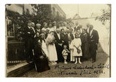Vintage photo of Wedding couple and guests — Stock Photo