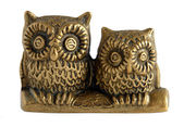 Bronze figurine Two owls — Stock Photo