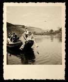 Vintage photo of River ferry — Stock Photo