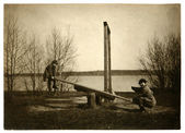 Vintage photo of seesaw — 图库照片