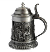 Pewter beer tankard with bas-relief — Stock Photo