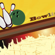 Abstract bowling background and city silhouette — 图库矢量图片
