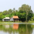 Stock Photo: Typical countryside house on riverbank, southern Vietnam