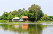 Typical countryside house on the riverbank, southern Vietnam — Stock Photo
