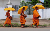 Khmer young monks walking morning — Stock Photo