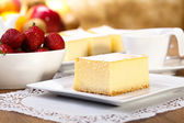 The composition of delicious cheesecake — Stock Photo