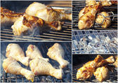 Fried chicken on the grill - A2 poster ready to print — Stock Photo
