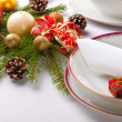 Christmas place setting with ribbon and christmas decorations — Stock Photo #29541477