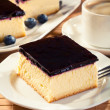 Cheesecake with blueberries and a cap of coffee — Stock Photo