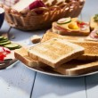 Stock Photo: Breakfast with toasted bread