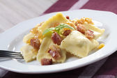 Portion of ravioli with onion and bacon — Foto de Stock