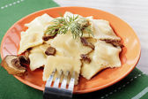 Portion of ravioli with mushrooms and sauerkraut  — ストック写真