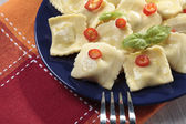 Portion of ravioli with red pepper — Stock fotografie