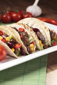 Taco with beef and vegetables — Stock Photo