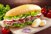 Big sandwich with ham, cheese and vegetables — Stock Photo