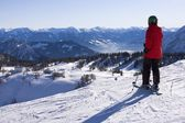 Skier watching mountains — Stock fotografie