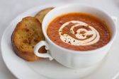Soup and bread — Stock Photo