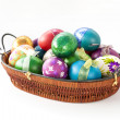 Colorful handmade easter eggs isolated over white background — Stock Photo