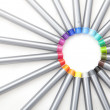 Colorful pens forming circle isolated on white — Stock Photo