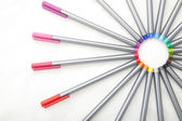 Half of cycle formed by the colored pencils — Stock Photo
