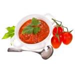 Tomato paste in a white pot, cherry tomatoes — Stock Photo