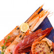 Different sea food shrimp and crabs — Stock Photo