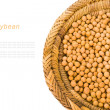 Soy beans in a wicker basket isolated on white background — Stock Photo
