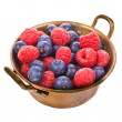 Fresh raspberries, blackberries and blueberries — Stock Photo
