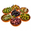 Different varieties of olives — Stock Photo