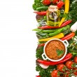 Постер, плакат: Fresh vegetables and herbs and cooking sauces