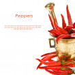 red hot chili pepper in a copper mortar — Stock Photo