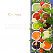 Stock Photo: Fresh vegetables and herbs and cooking sauces