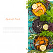 Spanish Mediterranean sea food - black rice, paella, noodles — Stock Photo