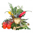 Resh vegetables , herbs a copper mortar — Stock Photo
