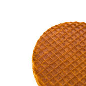 Round ruddy waffle isolated on white background — Stock Photo