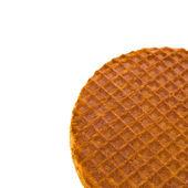 Waffle ruddy redondo aislado sobre fondo blanco — Foto de Stock
