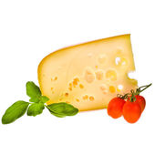 Emmental cheese piece decorated with cherry tomatoes — Foto Stock