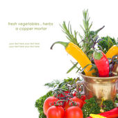 Resh vegetables , herbs a copper mortar — Stock Photo