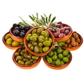 Different varieties of olives marinated — Stock Photo