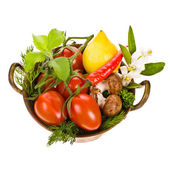 Cherry tomatoes, lemon, mushrooms — Stock Photo
